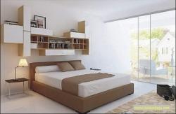 现代简易床+书架